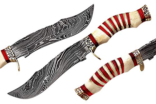 Damascus Steel Hunting Knife - Fixed Blade Knives with Sheath SG Bone
