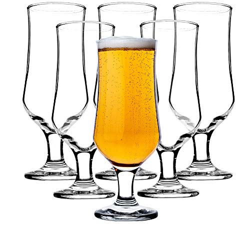KADAX Biergläser, Trinkgläser aus hochwertigem Glas, 6er Set, 360 ml, Wassergläser, Saftgläser mit Fuß, Gläser für Wasser, Drink, Cocktailgläser, Getränkegläser, spülmaschinenfest
