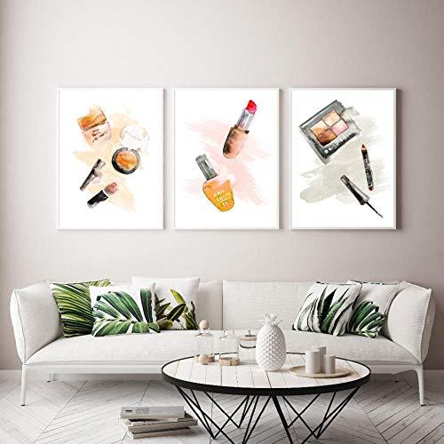 Merk make-up lippenstift parfum Nordic poster en print muurschildering canvas schilderij decoratie foto voor de woonkamer 40x60cmx3-frameloze