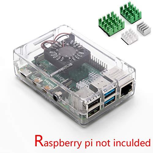 Caja de aleaci/ón de Aluminio Raspberry Pi 4B Geekworm Carcasa para disipador t/érmico Raspberry Pi 4 Modelo B con Doble Ventilador Funda pi4 con Ventilador Dual
