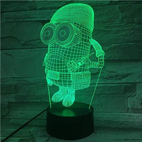 A-Generic 3D Illusion Lamp Luz LED Noche Luz Niños únicos Despicable ME 2 Minions para niños Habitación Decorativo Boys Regalo Escritorio Lámpara Mejor Cumpleaños para Niños