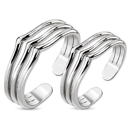 Bungsa 1 Paar ZEHENRINGE DREI Linien Mittelringe Silber - 1 Set Rhodium platinierte, Silberne ZEHRINGE - biegbarer Fussschmuck für Damen & Frauen - Verstellbarer Fussring Toe-Ring Nail Nagelring