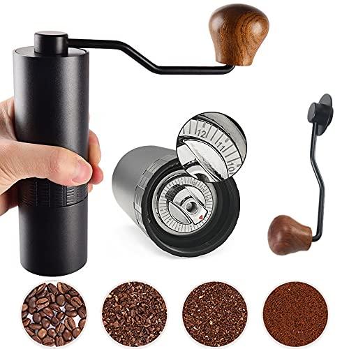 Crrkty Kaffeemühle Kegelmahlwerk manuell mit Verstellbarer Edelstahl Einstellung, Kaffee Mühle aus Luftfahrt aluminiumlegierung, Tragbare Espressomühle mit Holzgriff Hand Mahlwerk Präzises Schleifen