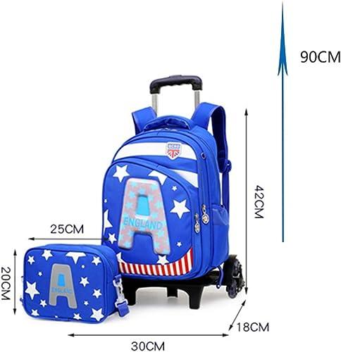 BYGenMai Schultrolley Schulranzen Six Wheeles Rolling Backpack 2 Set mit Bag-Trolley-Schultasche für mädchen und Jungen,A