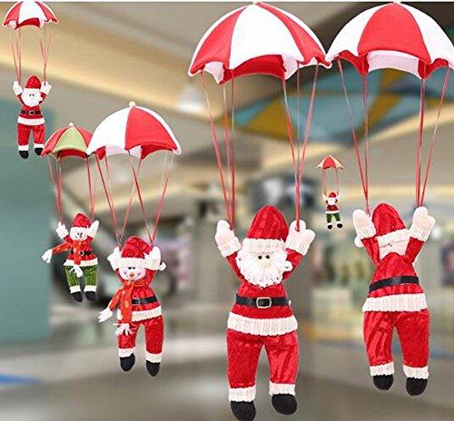 Ciondolo Di Natale Della Cinghia Di Atrio Di Babbo Natale Ciondolo Di Natale Del Paracadute Del Babbo Natale Del Pupazzo Di Neve