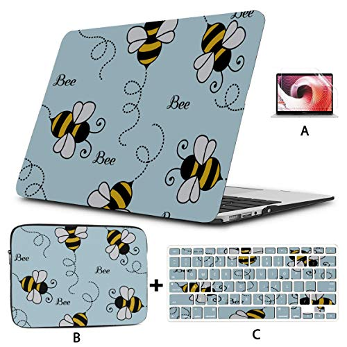 Laptop Hard Cases Cute Active Frendly Cartoon Bee 13 Macbook Pro Case Hard Shell Mac Air 11'/13' Pro 13'/15'/16' With Notebook Sleeve Bag For Macbook 2008-2020 Version