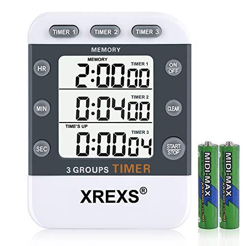 XREXS Temporizador de Cocina Digital 3 Canales, Gran Pantalla LCD Contar Arriba/Abajo, Cronometro Oposiciones Magnético para Fitness, Belleza, Aula, Reunión, Cocina(Baterias Incluidas)