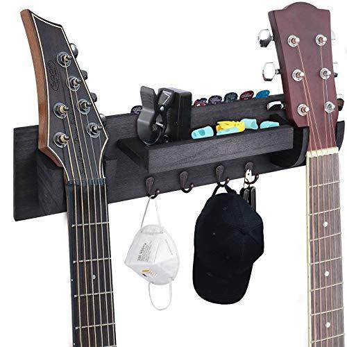 Doppelte Gitarrenwandaufhänger, Holz Gitarre Wandhalterung mit Ablagefach und Haken, Gitarrenhalter Halterung Rack für Ukulele/E-Gitarre/Bassgitarre/Gitarrenzubehör (Schwarz)