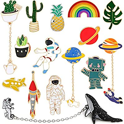 14 Pieces Cute Enamel Lapel Pin Set Cartoon Plant Cactus Space Spaceman Brooch Pins for Clothes Bags Jackets Backpacks for Women Girls Boys Brooch Pins Jewelry Set