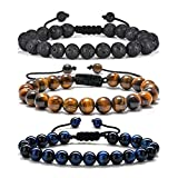 Gifts for Male Coworkers Mens Bracelet - Natural Black Lava Rock Stone Mens Anxiety Bracelets, Adjustable Aromatherapy Essential Oil Diffuser Healing Bracelet Gifts for Men Coworkers Leaving Gifts