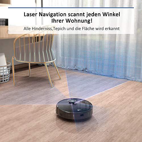 Simum Saugroboter mit Laser Navigation Verbotenen Bereich erkennung 2700PA Saugleistung Staubsauger Roboter mit Kartenspeicherung WLAN Roboterstaubsauger Optimiert für Tierhaare+Allergene - 3