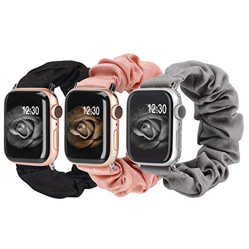 TOYOUTHS 3 Packs Compatible with Apple Watch Band Scrunchies 38mm Cloth Soft Pattern Printed Fabric Bracelet Women IWatch Elastic Scrunchy Bands 40mm Series SE 6 5 4 3 2 1(Black/Grey/Pink S)