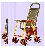JKNMRL Coche Infantil Plegable, Silla de Paseo, Silla de Paseo de bambú y ratán, Paisaje Alto, artefacto resbaladizo para niños
