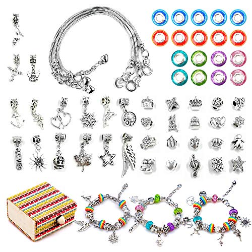Kit de fabricación de pulseras joyería para niñas juegos de manualidades Regalo para 6 a 12 años Niñas Pulsera con dijes Presente 6-12 niñas Niños Artes Artesanía Regalo niños del día de los niñas