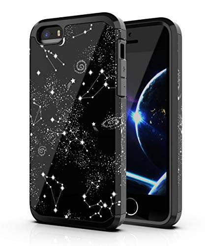 PBRO iPhone 5 Case,iPhone 5s Case,iPhone SE/SE 2 Case,Cute Universe Constellatio Case Dual Layer Soft Silicone & Hard Back Cover PC+TPU Protective Shockproof Case for Apple iPhone 5/5s/SE/SE 2 Black