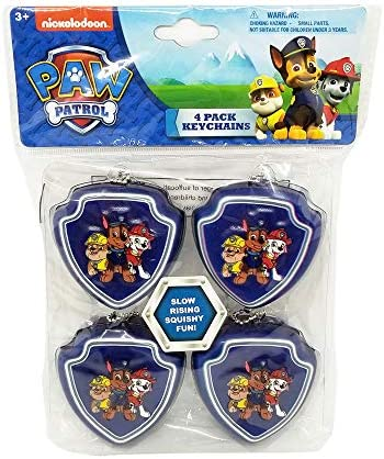 4 Pack Paw Patrol Bow Squishy Keychains Party Favors product image