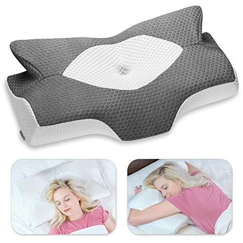 Elviros Cervical Memory Foam Pillow, Contour Pillows for Neck and Shoulder Pain, Ergonomic...