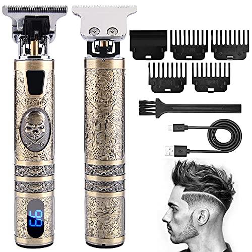 Cortapelos Hombre Profesional,Maquinilla Cortar Pelo Hombre con Pantalla LCD,Recortadora de Barba Impermeable,4 peine cortapelo,Carga USB
