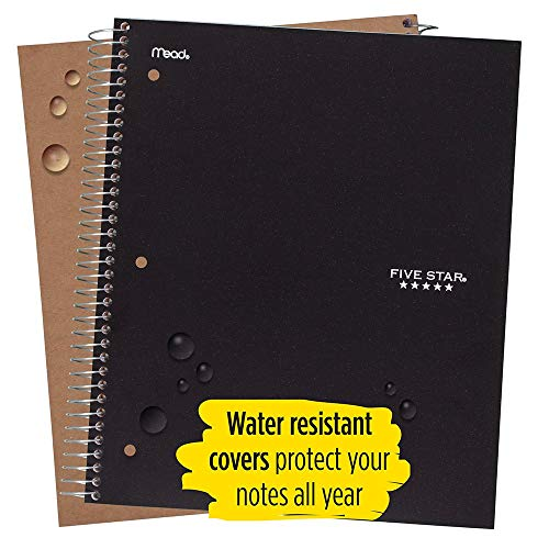 Five Star Spiral Notebooks, 5 Subject, College Ruled Paper, 200 Sheets, 11 x 8-1/2 inches, Black, White, 2 Pack (73035) Photo #4
