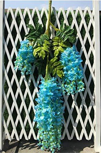 Aimili 12pcs Decoración de Boda Wisteria Flor Simulación Flor Sala Decoración Flor Plástico Rattan Hoja Verde Rattan Pared Rattan (Azul)
