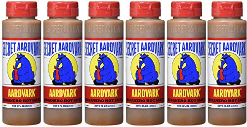 Secret Aardvark Habanero Hot Sauce | Made with Habanero Peppers & Roasted Tomatoes | Non-GMO, Low Sugar, Low Carb | Awesome Hot Sauce & Marinade 8 oz (6 pack)
