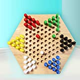 Chinese Checkers Board Game, Children's Checkers Nine Games Adult Wooden Checkers Kids Classic