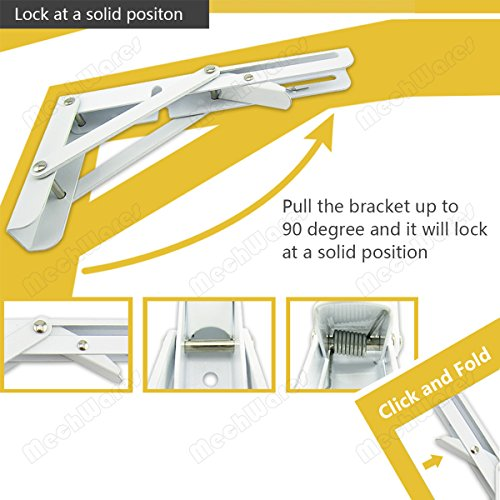 Boat 40cm, Black MechWares Folding Bracket for Shelves Tables Long Release Space Saving for Standing Desk Wall-Mounted Drop-Leaf in Kitchen RV Laundry Room Garage