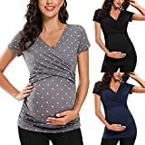Maternity Shirts Solid Short Sleeve Tunic Pregnant Maternity Blouse Tops Wrap Neck Pullover Grey