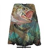 Pag Crane Largemouth Bass Fish Cómodo Salon Cape Corte de Pelo Capa e Impreso para Uso en el hogar Salon para Corte de Cabello Color de Cabello