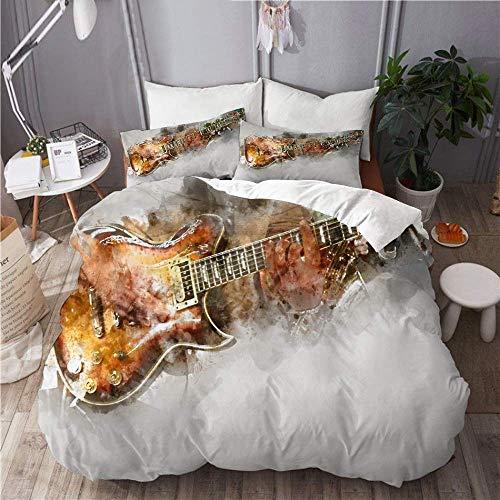 993 CCOVN Bedding Bettwäsche-Set 3 Teilig mit Reißverschluss Mann, der Gitarre auf Aquarellmalerei spielt (200x200cm) und 2*Kissenbezuge(50x80cm)