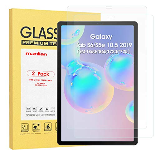 Manlian Screen Protector For Samsung Galaxy Tab S6 / S5e 10.5 2019 (SM-T860/T865/T720/T725),(2-pack) with [Ultra- Clear] [Anti-Scratch] [Anti-Fingerprint] [9H Hardness]Premium Glass Screen Protector