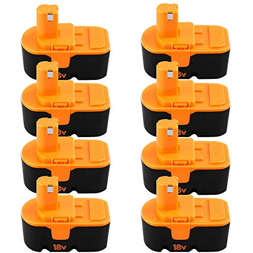 [Upgraded to 8-Pack] 3600mAh Ni-Mh Replacement for Ryobi 18V Battery One + Compatible with P100 P101 ABP1801 ABP1803 BPP1820 Batteries