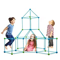 """★CONSTRUCTION FORT BUILDING KIT: Includes 75 Sticks (14.96"""" long), 23 Blue Soild Balls and 22 Green Soild Balls (1.97"""" diameter). Our120 PIECE magic making set allows you child to build forts of all shapes and sizes!(Blanket Not Included.) ★FLEXIBLE..."""