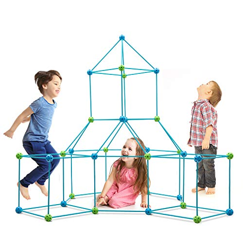 Obuby Kids Construction Fort Building Kit 120 Pieces Ultimate Forts Builder Gift Build Making Kits Toys for Boys and Girls to DIY Building Castles Tunnels Play Tent Rocket Tower Indoor & Outdoor