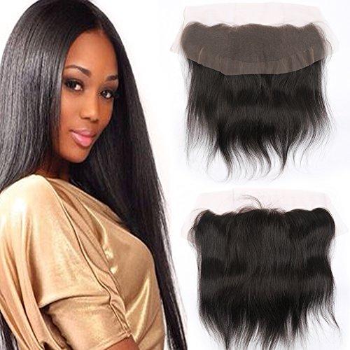 Puddinghair Bresilien Virgin Extensions Cheveux Straight 13 * 4 Frontal Lace Closure Tout Droit Noir Naturel