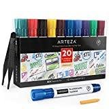 Arteza Dry Erase Markers for Glass Boards Pack of 20, 10 Bright Colors with Low-Odor Ink, Erasable Window Markers for Glass, Mirrors, Whiteboards and Non-Porous Surfaces