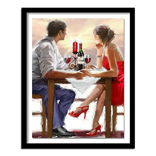 Bordado completo de diamantes parejas románticas 5d diy pintura de diamantes kits de punto de cruz cuadro de diamantes decoración del hogar regalo40*50