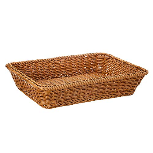 ZB 16' Poly-Wicker Bread Basket, Long Woven Tabletop Food Fruit Vegetables Serving Basket, Restaurant Serving, Honey Brown