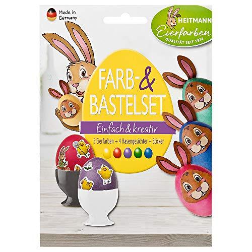 Heitmann Eierfarben Farb- und Bastelset - 5 Bunte Färbetabletten, Sticker, Hasengesichter zum Basteln - Ostern - Ostereier bemalen, Ostereierfarbe
