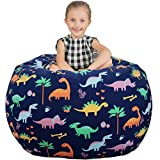 Aubliss Stuffed Animal Storage Bean Bag Chair Cover Only for Plush Toys, Blankets, X-Large 48'-Canvas Dinosaur