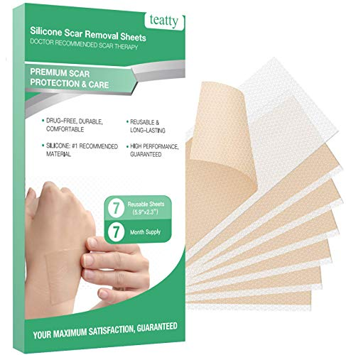Silicone Scar Sheets, TEATTY Medical Scar Removal Sheets 7PCS Scar Reducing Tape for Face Body Caused by C-Section Injury Keloid Surgery and More, Reusable Scar Treatment Sheets, 5.9'×2.3'