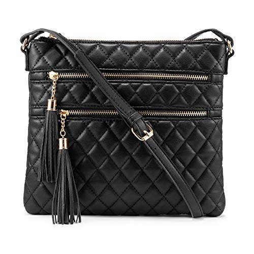 Womens Purses and Handbags Crossbody Black Bags with Double Zipper Pocket Tassel Over the Shoulder Purse Larger