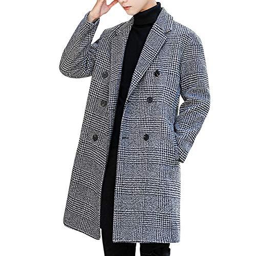 Men's Plaid Tweed Trench Coat Double Breasted Windbreaker 3/4 Long Coat