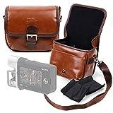 DURAGADGET Bolsa Profesional marrón tamaño Mediano con Compartimentos para Sony Handycam HDR-MV1 | HDR-AS50B | HDR-CX240E | HDR-CX625B | HDR-PJ410