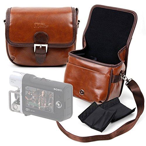 DURAGADGET Bolsa Profesional marrón tamaño Mediano con Compartimentos para Sony Handycam HDR-MV1...