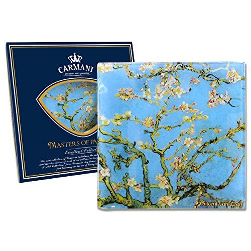 Carmani - Plato de vidrio cuadrado, Lámina Vincent van Gogh 'ALMENDRA FLOR' 13x13cm