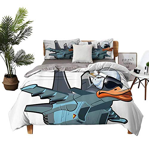 4pcs Bedding Set Bedclothes Flat Sheet Pillow case Jet Bird Angry Comic Aircraft Army German Pilot Helmet Duckling Funny Character Image Boys and Girls Grey White W68 xL90