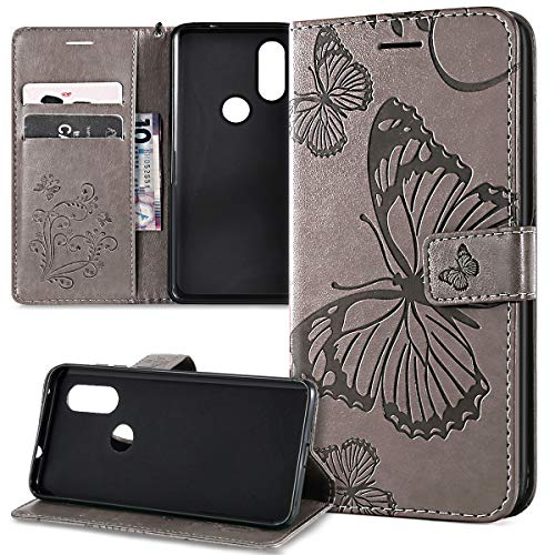 Kompatibel mit Schutzhülle Motorola One Vision/Moto P40 Hülle,Prägung 3D Schmetterling Relief Lanyard Muster PU Lederhülle Flip Hülle Cover Ständer Bookstyle Wallet Tasche Schutzhülle Handyhülle,Grau