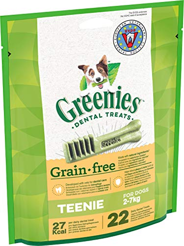 Greenies Dental Treats Grain Free Teenie – 44 Getreidefreie Zahnpflegesnacks für sehr kleine Hunde von 2-7 kg – Hundeleckerli zur täglichen Zahnreinigung – 2er Pack – 2 x 170 g