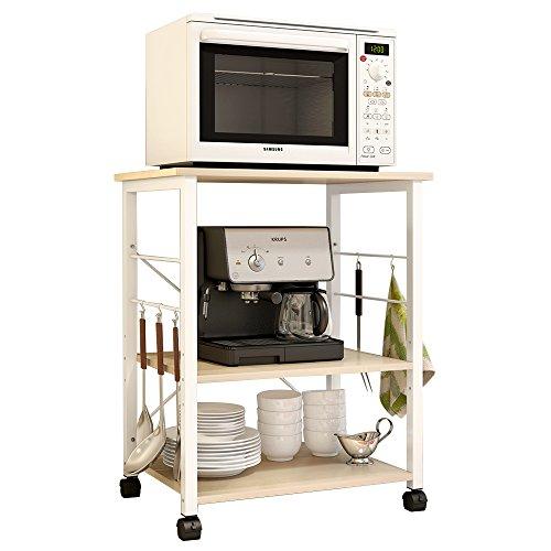 soges 3-Tier Kitchen Baker's Rack Utility Microwave Oven Stand Storage Cart Workstation Shelf, White Oak W4-MP-N